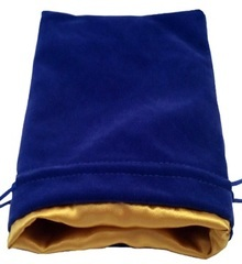 Large Dice Bag Blue Velvet with Gold Satin Lining (6x8 inch)