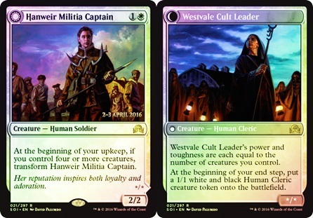 Hanweir Militia Captain // Westvale Cult Leader (Shadows over Innistrad Prerelease)