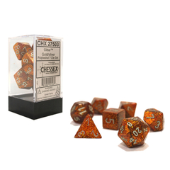 Glitter Gold and Silver 7ct Polyhedral Dice Set - CHX27503