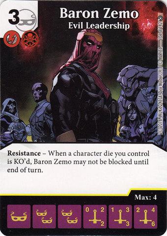 Baron Zemo - Evil Leadership (Die & Card Combo)