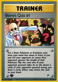 Blaines Quiz #1 - 97/132 - Rare - 1st Edition