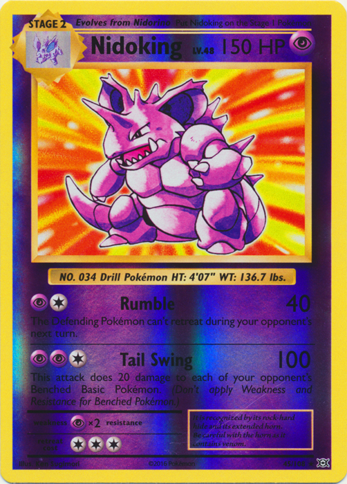 Nidoking 45//108 Evolutions Reverse Holo Mint Pokemon Card