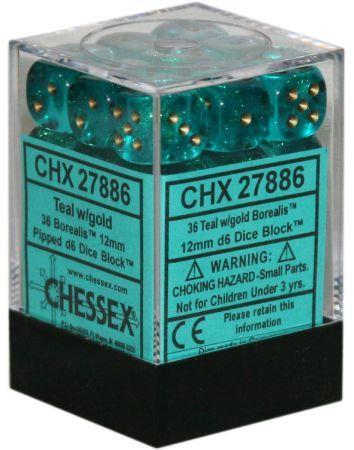 Borealis Teal w/Gold Set of 36 d6 Dice (CHX27886)