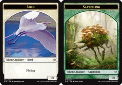 Bird Token // Saproling Token on Channel Fireball
