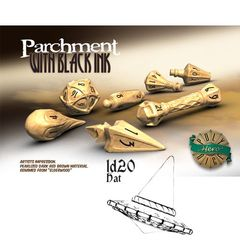 Polyhero Dice: D20 Wizard Hat Promo - Parchment With Black Ink