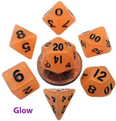 Mini Polyhedral Dice Set: Glow Orange with Black Numbers