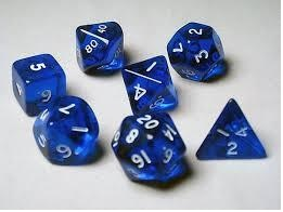 Transparent Polyhedral Blue/White 7/Set
