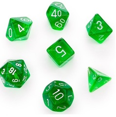 Transparent Polyhedral Green/White 7/Set