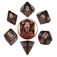 7 Count Mini Dice Poly Set - Red/Black with Gold Numbers