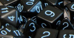 Opaque Black with Lt Blue Numbers - Set of 7
