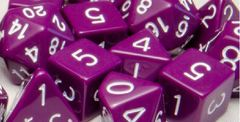 Opaque Dark Purple with White Numbers - Set of 7