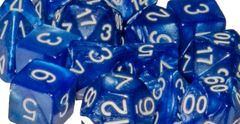 Marble Blue  with White Numbers - Set of 7