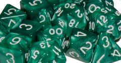 Marble Green with White Numbers - Set of 15