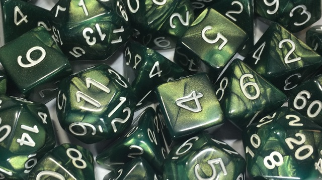 Emerald Dragon Shimmer with White Numbers - Set of 7