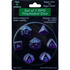 Set Of 7 Polyhedral Dice: Translucent Dark Purple With Light Blue Numbers
