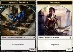 Adorned Pouncer Token HOD-001 // Warrior Token AMK-017 - Double-Sided