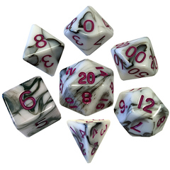 7 Count Dice Poly Set: 16Mm Marble With Purple Numbers