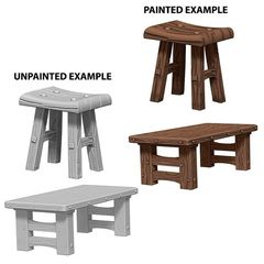Pathfinder Battles Unpainted Minis - Wooden Table And Stools