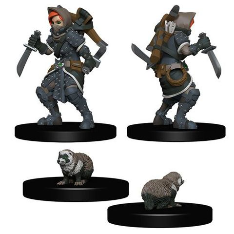 Wizkids Pre-Painted Miniatures: Girl Rogue And Badger - Miniatures