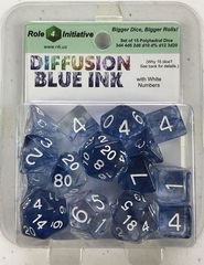 Diffusion Blue Ink/White - Set Of 15 Dice
