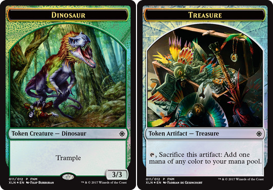 NM-Mint MTG Foil Dinosaur // Treasure Token MTG X4 Friday Night Promo