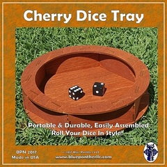 Blue Panther - Circular Wooden Dice Tray - Cherry