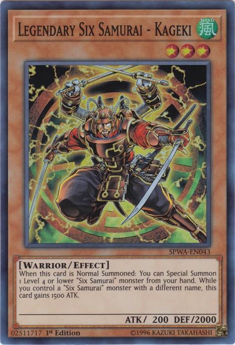 Legendary Six Samurai - Kageki - SPWA-EN043 - Super Rare - 1st Edition