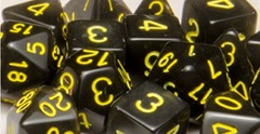 Set Of 15 Dice: Translucent Black W/Gold