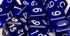 Set Of 15 Dice: Translucent Dark Blue W/White