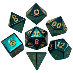 7 Count Dice Metal Set: Turquoise Painted Metal