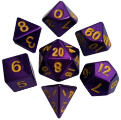 7 Count Dice Poly Set: 16Mm Metallic Purple with Gold Numbers