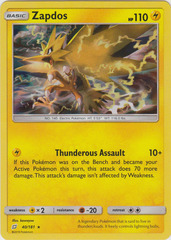 Zapdos - 40/181 - Holo Rare on Channel Fireball