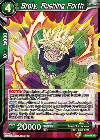 Broly, Rushing Forth - SD8-03 - ST - Parallel Foil