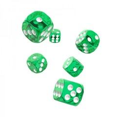 Oakie Doakie Dice - D6 Translucent Green 16mm Set of 12