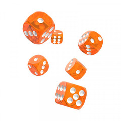 Oakie Doakie Dice - D6 Translucent Orange 16mm Set of 12