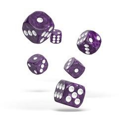 Oakie Doakie Dice - D6 Marble Purple 16mm Set of 12