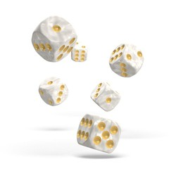 Oakie Doakie Dice - D6 Marble White 16mm Set of 12