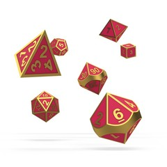 Oakie Doakie Dice - RPG-Set Metal Glow in the Dark Golden Princess