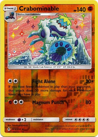 MINT Pokemon CRABOMINABLE 105//214 Unbroken Bonds RARE Rev Holo