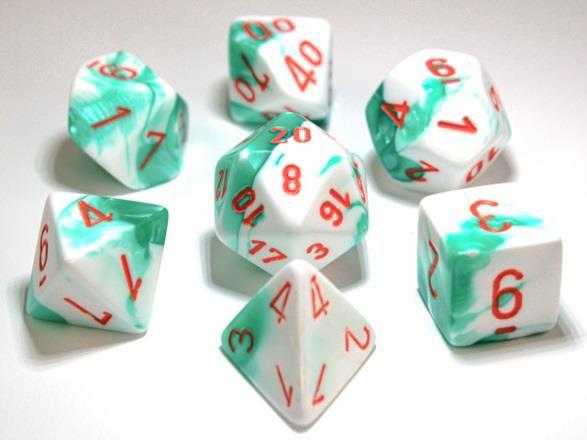 Chessex Lab Dice 7-Die Set: Gemini Mint Green-White/Orange - CHX30020