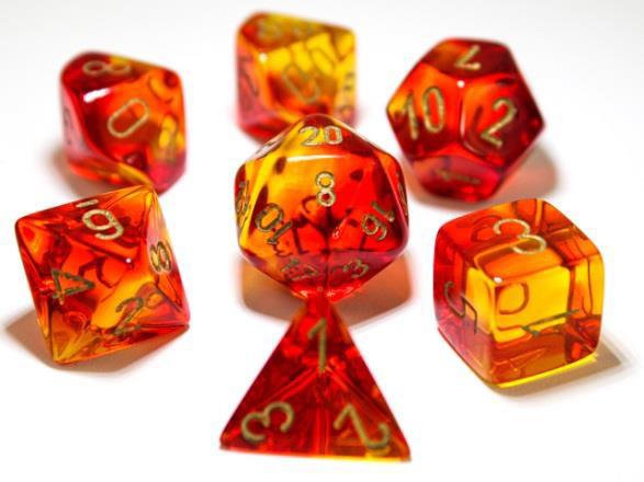 Chessex Lab Dice 7-Die Set: Gemini Red-Yellow/Gold - CHX30024