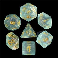 HD Polyhedral 7 Dice Set Blue Iridecent Dice