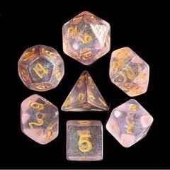HD Polyhedral 7 Dice Set Pink Iridecent Dice