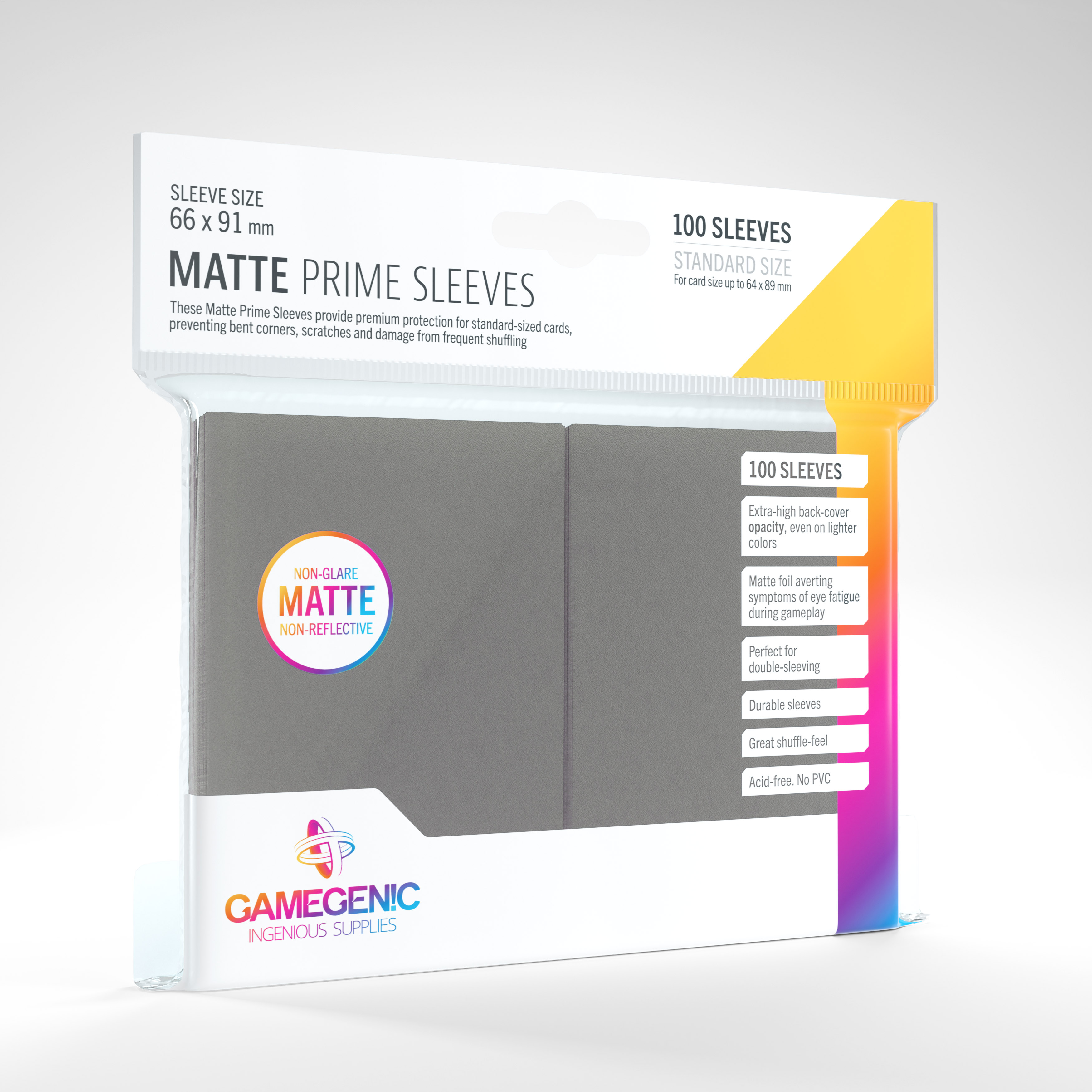 Gamegenic - Sleeves: Gamegenic Matte Prime Sleeves - Dark gray (100)