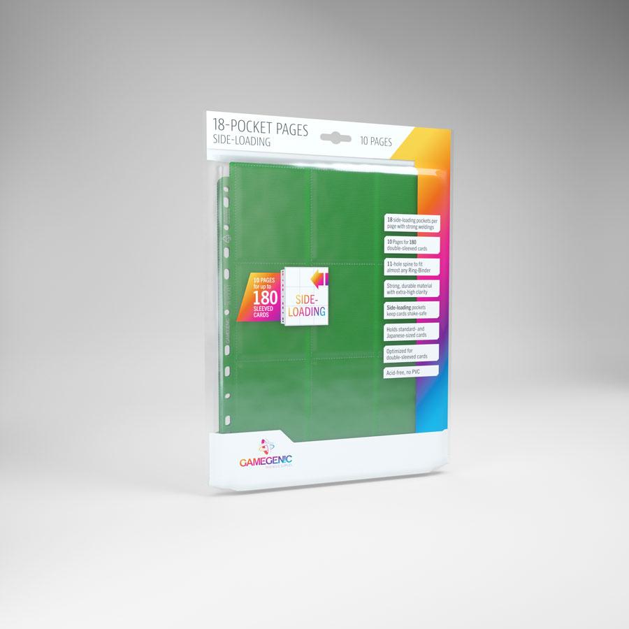 Gamegenic - 18 - Pocket Pages Side Loading - Green - (10 pages bag)