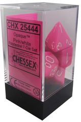 7-die Polyhedral Set - Opaque Pink with White - CHX25444