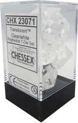Translucent Clear/white 7ct Polyhedral Dice Set - CHX23071