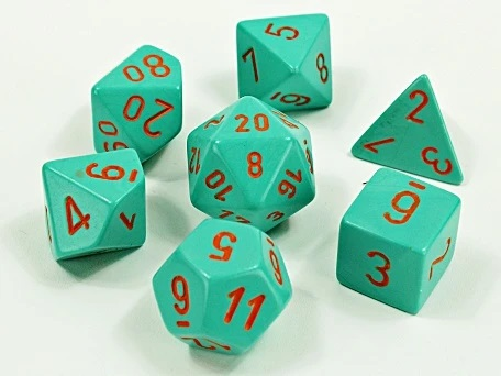 Chessex 30039 - Heavy - Polyhedral 7 Die Set - Turqoise/orange - Lab Dice