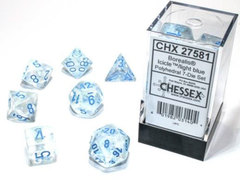 Borealis Polyhedral - Icicle with Light Blue  7-dice - CHX27581
