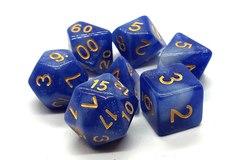 Old School 7 Piece DnD RPG Dice Set: Galaxy - Blue & White